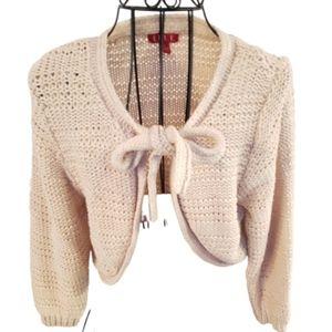 Elle Cardigan sweater cream color tie up front